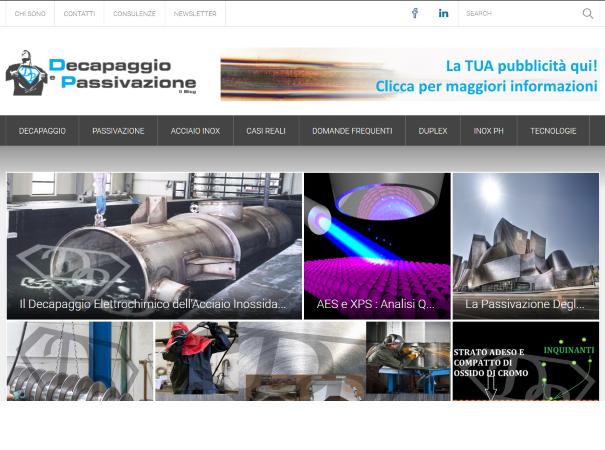 Siti web, e-commerce, decapaggio-passivazione